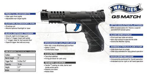 "Walther PPQ Q5 Match Semi-Auto Pistol, 9mm, 10 Rounds, 5"" Barrel, Black, Optics Ready"