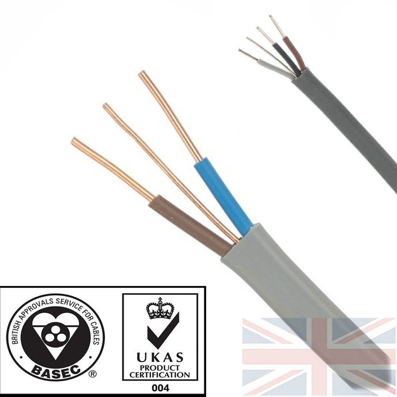 100m 1.0mm 6242Y Grey Twin & Earth Cable Quality Flat Wire BASEC ...