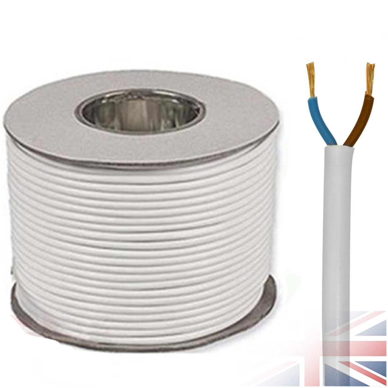 White 2182Y 2 Core 0.75mm 6 Amp PCV Round Flexible Electrical Cable ...