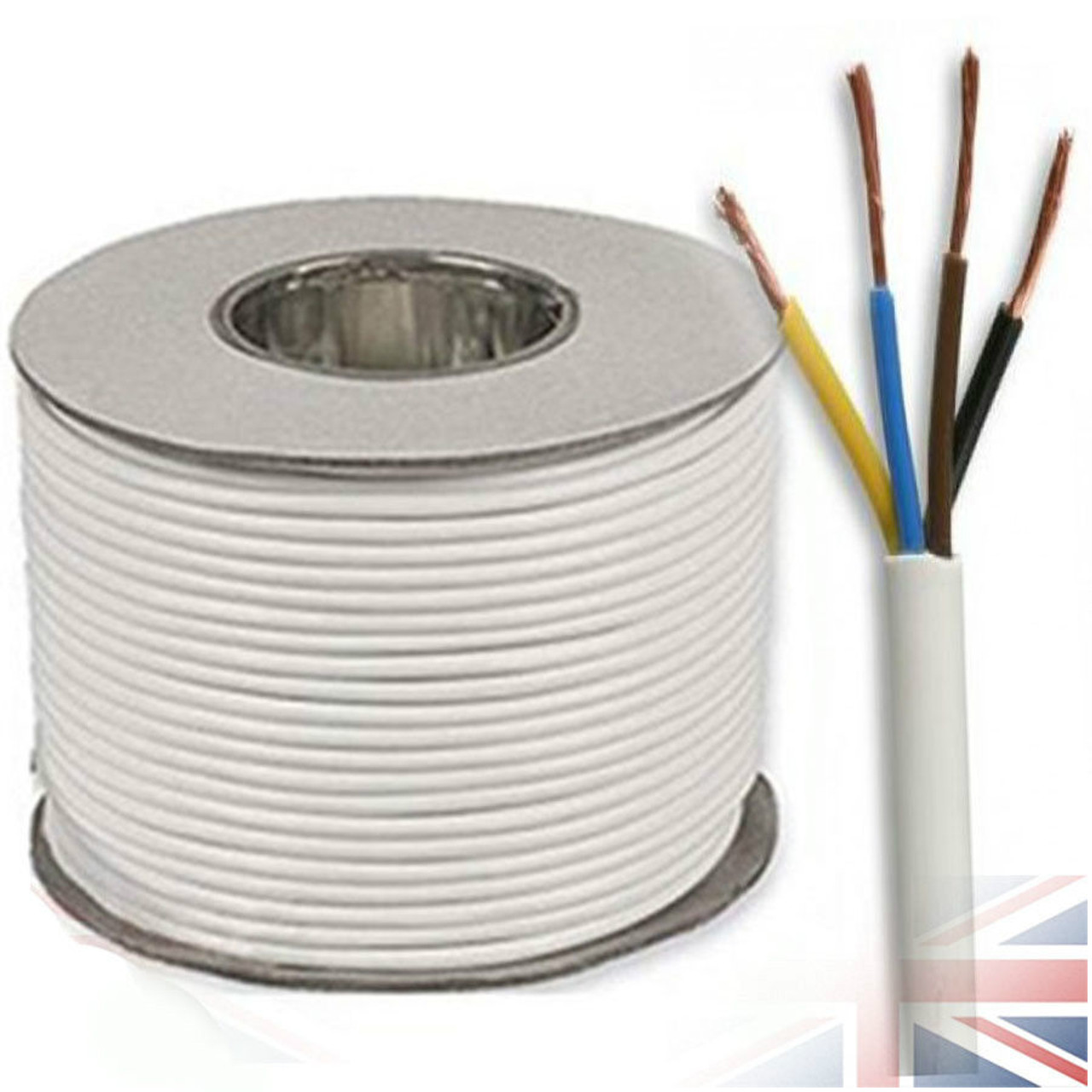 100m Reel White 3184Y 1.0mm 4 Core Round PVC Flexible Cable Wire ...