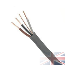 6243Y 1.0mm Grey 3 Core & Earth Cable Quality Flat Wire BASEC Approved(Price per Metre)