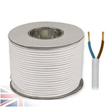 100m Reel White 3182Y 0.75mm 2 Core Round PVC Flexible Cable Wire
