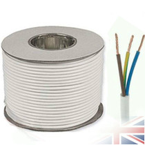 50m Reel White 3183Y 0.75mm 3 Core Round PVC Flexible Cable Wire