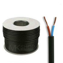 50m Reel Black 3182Y 0.75mm 2 Core Round PVC Flexible Cable Wire