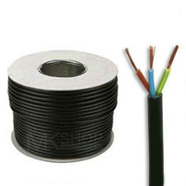 50m Reel Black 3183Y 0.75mm 3 Core Round PVC Flexible Cable Wire