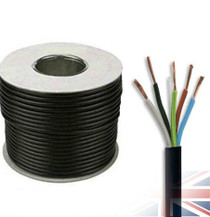 100m Reel Black 3185Y 1.0mm 5 Core Round PVC Flexible Cable Wire