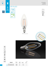 4W LED Lamp/Light Bulb Warm White 2700k ZIPI FILLED 4W E14-WW