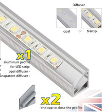1 Metre Aluminium Extrusion Profile TriLine Corner for LED Strip Lights
