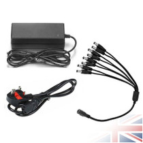 12V 6Amp CCTV Power Supply 72Watts 8 Ways Power Splitter For CCTV Camera