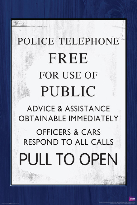 "TARDIS Door Sign Poster 24"" X 36"""