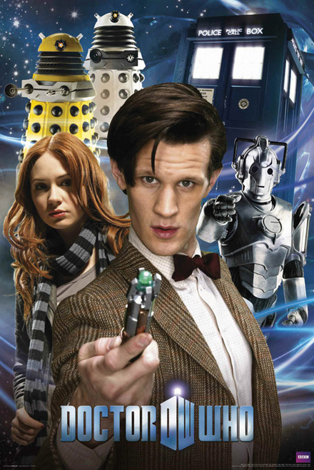 """11th Doctor, Amy, Daleks, Cybermen, and The TARDIS Poster 24"""" X 36"""""""