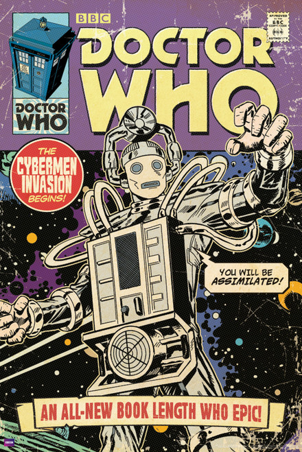 "Cyberman Invasion Comic Cover Poster 24"" X 36"""