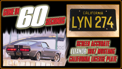 """License Plate - GONE in 60 SECONDS - """"LYN 274"""""""