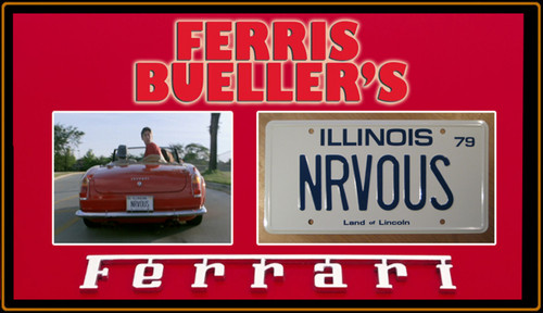 """License Plate - FERRIS BUELLER'S - """"NRVOUS"""""""