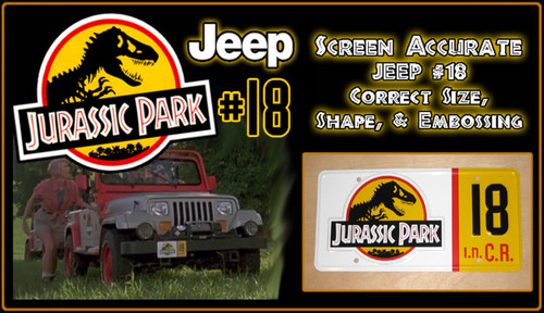 License Plate - JURASSIC PARK - Jeep 18