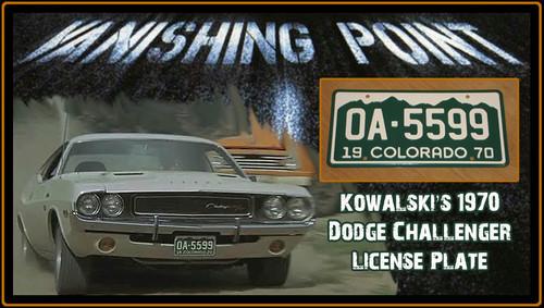 """License Plate - VANISHING POINT - """"OA-5599"""""""