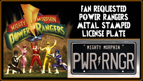 """License Plate - Mighty Morphin POWER RANGERS - """"PWR RNGR"""""""