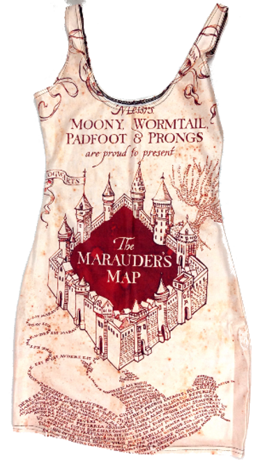 Marauder's Map Print Dress
