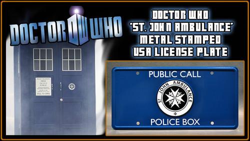 "License Plate - DOCTOR WHO - ""ST. JOHN'S AMBULANCE"" TARDIS Emblem"