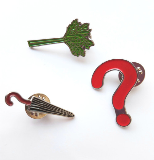 Umbrella, Question Mark, and Celery - Classic Doctors Enamel Pin Set