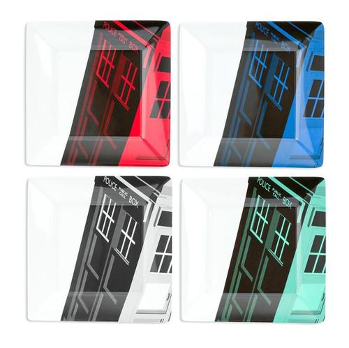 TARDIS Colorful Plate Dinnerware Set of 4