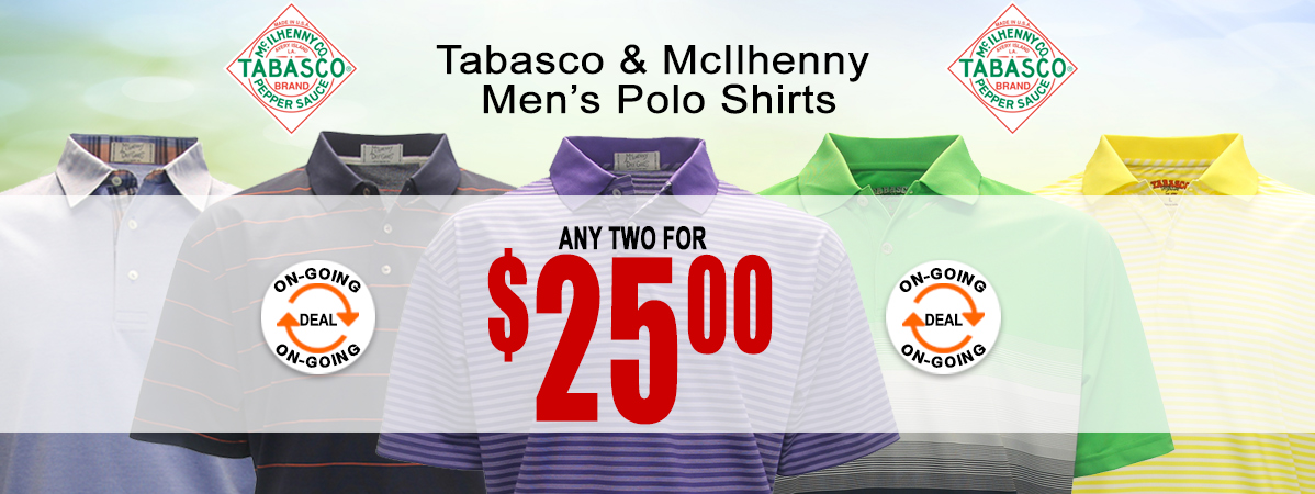Tabasco Polo Shirts - 2 for $25