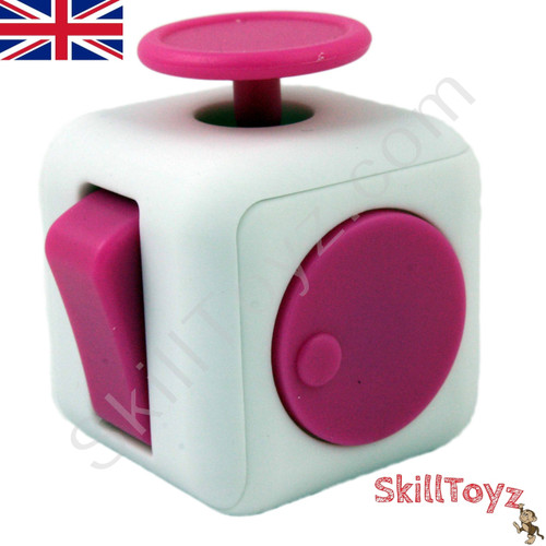 Premium Fidget Cube Toy Smooth Touch White And Pink