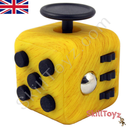 Premium Edition Fidget Cube Featuring A Larger Body And Soft Touch Rubberised Finish Marble Yellow