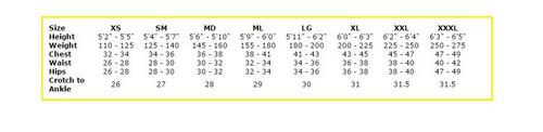 7mm Tunic - Men's - Size Chart