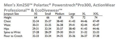 DUI Actionwear 300 Vest - Men's Size Chart
