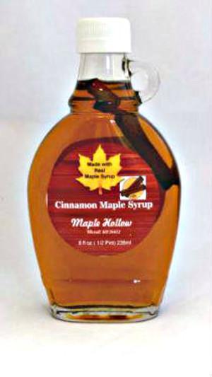 Cinnamon Maple Syrup - 8 oz. glass jug. CASE OF 12