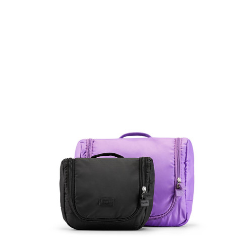 toiletry organiser (small) black & (large) purple