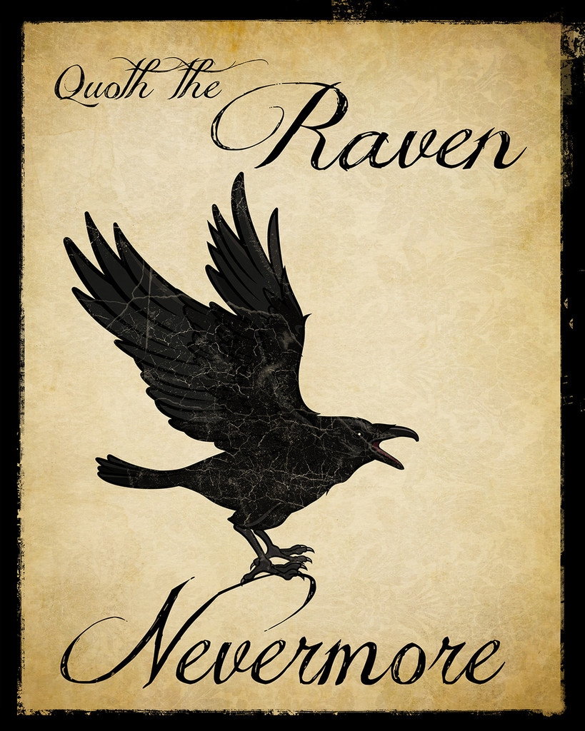 Nevermore Raven Literary Quote. Vintage Style Edgar Allan Poe Fine Art Print For Classroom, Library, Home or Dorm