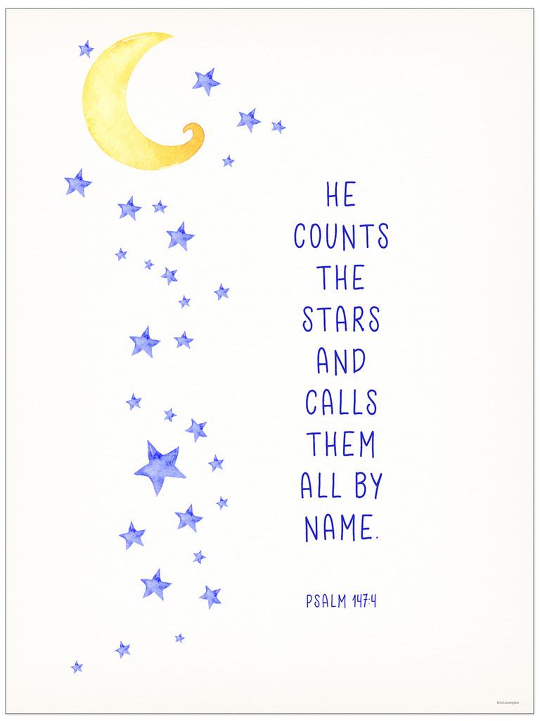 Calls Them by Name - Spiritual Art Print Verse for Dorm, Nursery, or Bedroom.