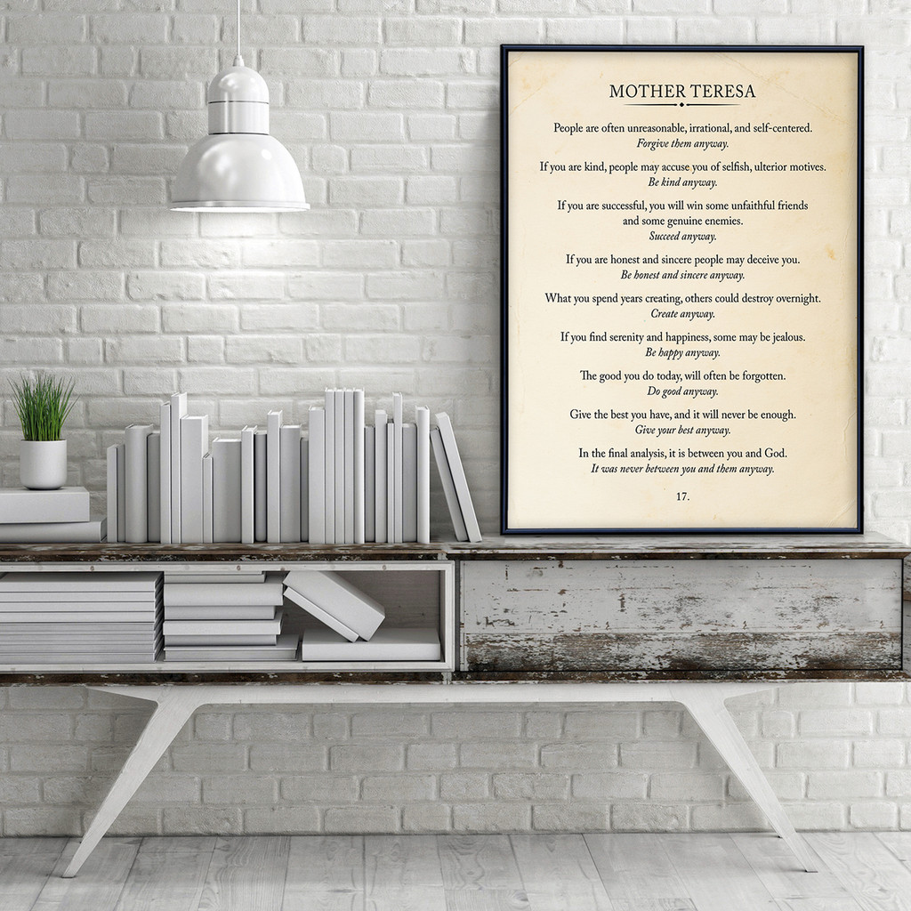 Mother Teresa Quote Fine Art Print Book Page Style Print for Home, School or Office