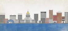 Charleston WV Skyline Fine Art Print For Library, Home or Dorm