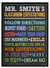 Classroom Expectations Personalized Art Print. Customizable Poster For Middle School or Elementary School Teachers