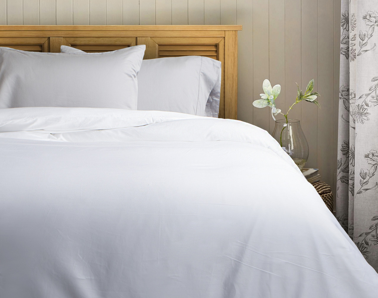 620tc cotton sateen duvet cover white