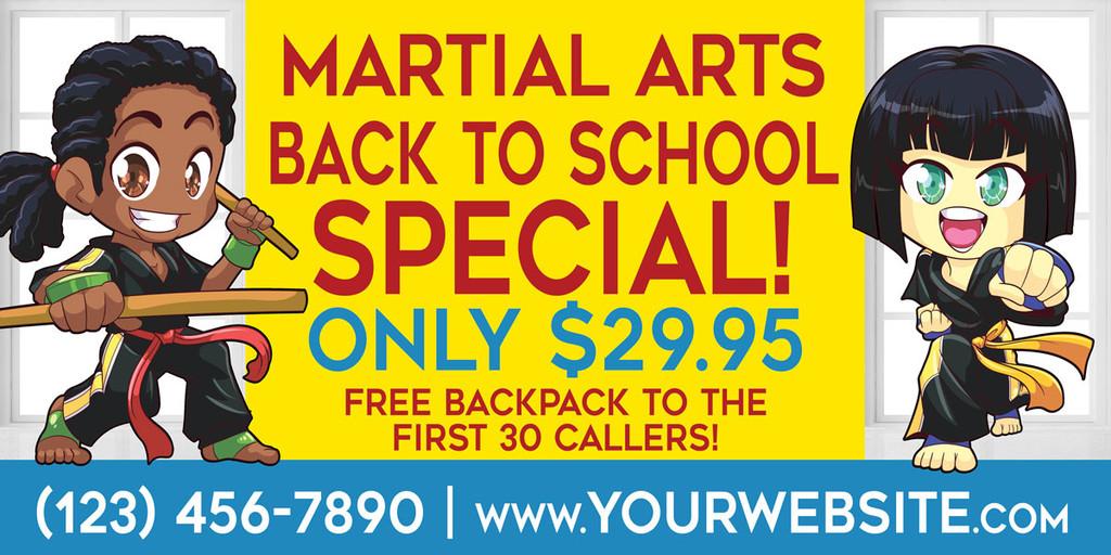 NEW!! Back to School Martial Arts Vinyl Banner V2