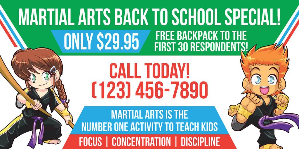 NEW!! Back to School Martial Arts Vinyl Banner V3
