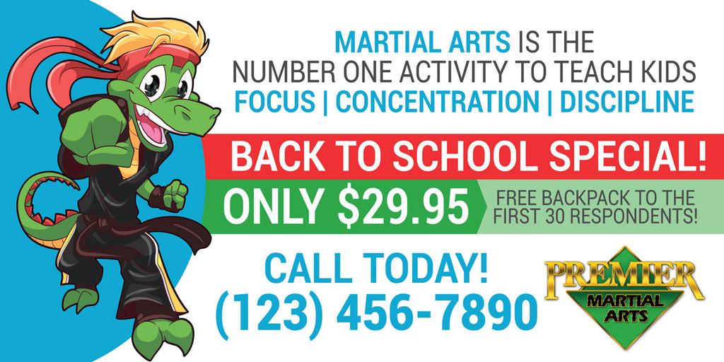 NEW!! Back to School Martial Arts Vinyl Banner PMA V1