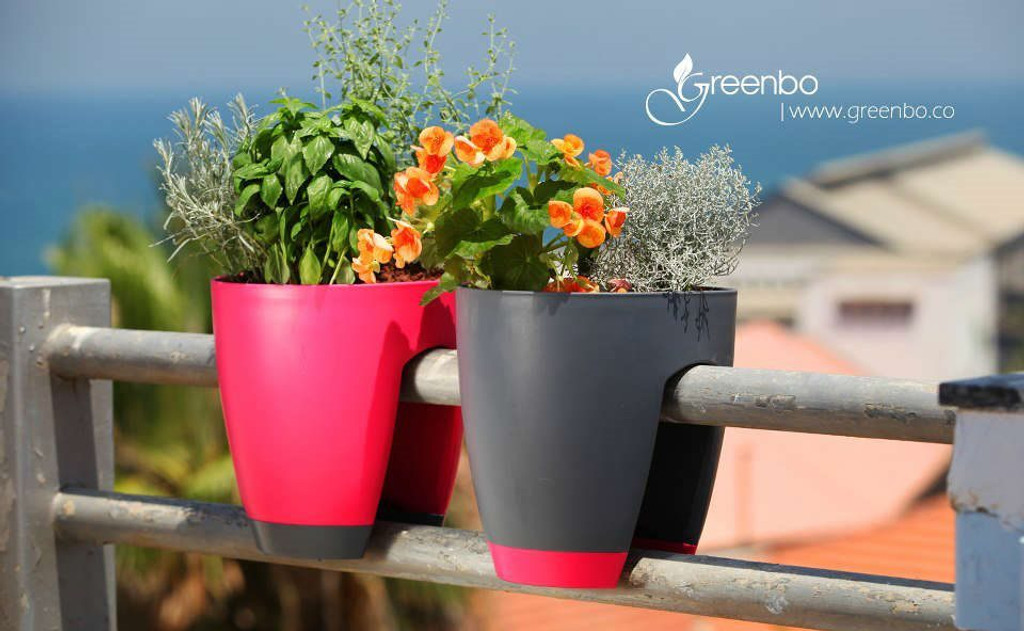 Mixed colour Greenbo railing and balcony planter.