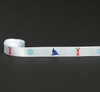 """Sail boats, Lighthouses and ships wheels on 5/8"""" white single face satin ribbon"""