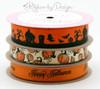 "Spooky Town Ribbon in black on 7/8"" orange single face satin ribbon, 10 Yards"