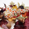 "Fall Ribbon Leaves and Pumpkins on 7/8"" Antique white Single Face Satin Ribbon, 10 Yards"