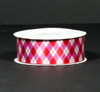 """Valentine argyle in red and pink on 1.5"""" white single face satin ribbon, 10 Yards"""