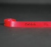 "Ooh La La in black ink with hearts on 5/8"" bright  red single face satin ribbon, 10 yards"