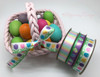 "Easter Eggs Ribbon in the Grass on 5/8"" white single face satin ribbon, 10 Yards"