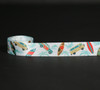 """Surf boards and Woody wagons with palm trees on 7/8"""" white single face satin ribbon, 10 yards"""