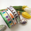 """Happy Easter Chocolate Bunny Ribbon on 5/8"""" white single face satin , 10 Yards"""